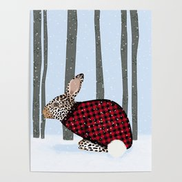Rabbit Wintery Holiday Design Poster