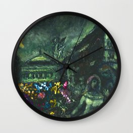 Wedding Night, Paris, Avenue of the Opera House by Marc Chagall Wall Clock