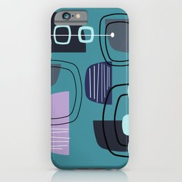 Teal Mid Century Modern Rocks iPhone Case