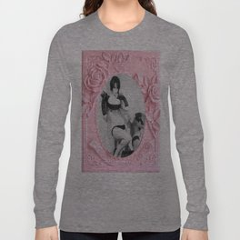 Femme Fatale - Pin Up - Pastel Pink Frame - Roses  Long Sleeve T-shirt