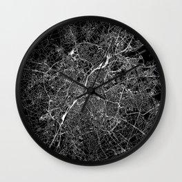 Brussels Black Map Wall Clock