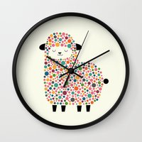 sheep Wall Clocks featuring Bubble Sheep by Andy Westface
