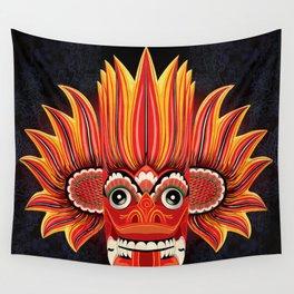 Sri Lankan Dance Mask: Fire Demon / Gini Raksa Wall Tapestry