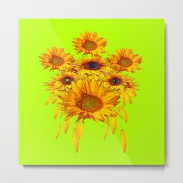 chartreuse Yellow Sunflowers Abstract Metal Print
