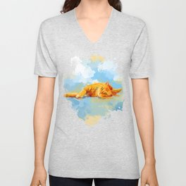 Cat Dream - orange tabby cat painting Unisex V-Neck