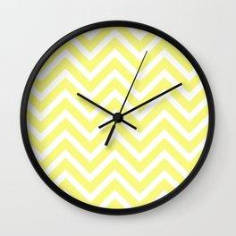 Chevron Stripes : Yellow & White Wall Clock