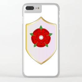 Lancastrian Red Rose Shield Clear iPhone Case
