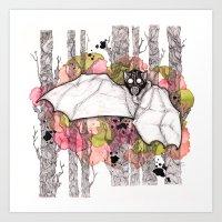 bat Art Prints featuring Bat by Kapena Ornellas