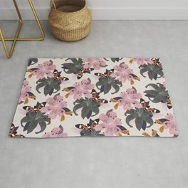 Lilies and butterflies insects Rug
