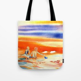Children At Sunset Tote Bag