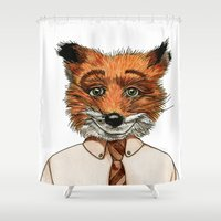 mr fox Shower Curtains featuring Mr. Fox by mothermary