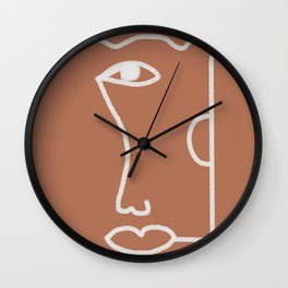 Woman Face, Burnt Orange, Minimal Line Drawing Wall Clock