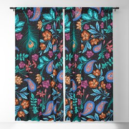 Asian-Inspired Peacock Feathers and Floral Pattern Blackout Curtain
