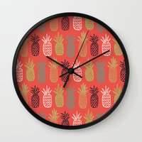pineapples Wall Clocks featuring Pineapples by Annie Smith Designs