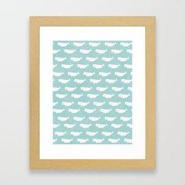 Turquoise beluga pattern Framed Art Print