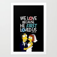 simpson Art Prints featuring Simpson love by LOVEcm