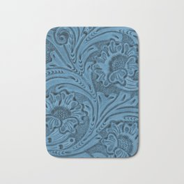 Cornflower Blue Tooled Leather Bath Mat