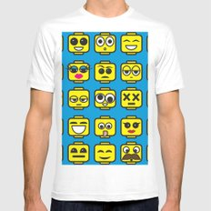 Yellow Cartoon Faces on Blue Background MEDIUM Mens Fitted Tee White