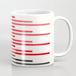 Red Minimalist Abstract Mid Century Modern Staggered Thin Stripes Watercolor Painting Coffee Mug