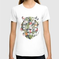 tiger T-shirts featuring Tropical tiger by Robert Farkas