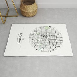 Houston Texas City Map with GPS Coordinates Rug