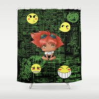 digimon Shower Curtains featuring Chibi Edward by artwaste