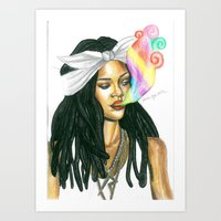 2pac Art Prints featuring supreme Rihanna by Alena Lytkina