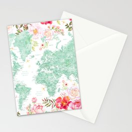 Mint green and hot pink watercolor world map with cities Stationery Cards