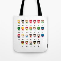 superhero Tote Bags featuring Superhero Alphabet by PixelPower