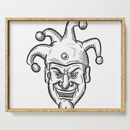 Crazy Medieval Court Jester Drawing Serving Tray