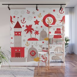 pattern with sea icons on white background. Seamless pattern. Red and gray Wall Mural