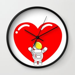 Astro Heart | Love is All Around | Astronaut Hug Love | pulps of Wall Clock