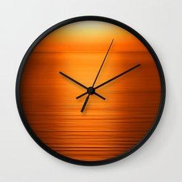 Sunset on the Water-Deep Orange Wall Clock