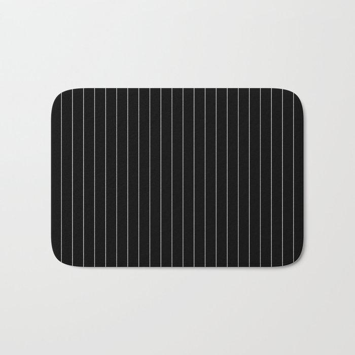 Black And White Pinstripes Lines Stripes Minimalist Stripe Line Bath Mat
