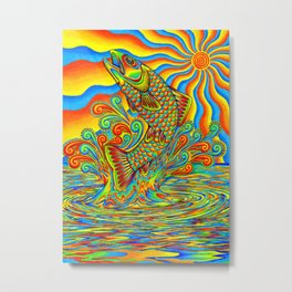 Psychedelic Rainbow Trout Fish Metal Print