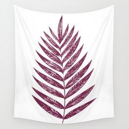 Simple Botanical Design in Dark Plum Wall Tapestry