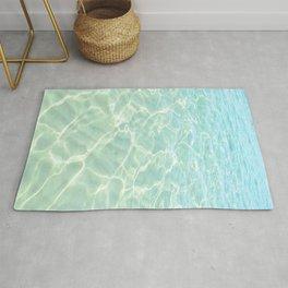All Clear turquoise sea water, Abstract ocean beach, Minimal coastal Rug