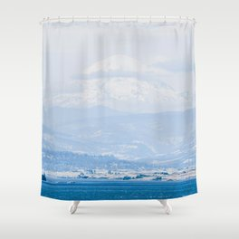 Lake to Peak // Snowy Blue Fog Mountain View Oregon Landscape Photograph Shower Curtain