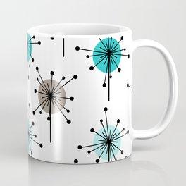 Midcentury Sputnik Starburst Flowers Turquoise Brown Coffee Mug