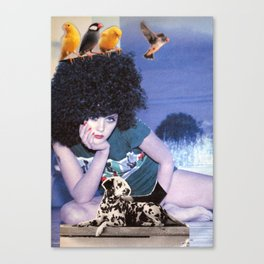 The girl with a bird's nest in her hair Canvas Print