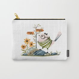 Cute Watercolor Bird Illustration Nursery Art Print Funny Whimsical Style Carry-All Pouch
