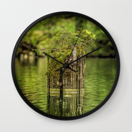 Lonely pine sprout on an old tree trunk in a lake Wall Clock