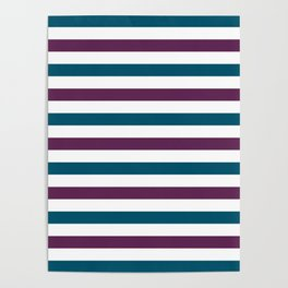 Teal blue, purple and white horizontal stripes Poster