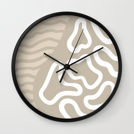 Organic Shapes River Flow Abstract on Tan Wall Clock