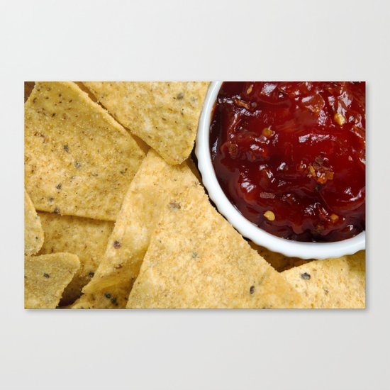 Nachos and Chilli Dip Overhead Canvas Print