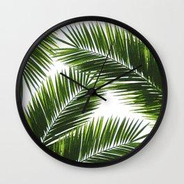 Tropical Palm Leaf Pattern 1 - Tropical Wall Art - Summer Vibes - Modern, Minimal - Green Wall Clock