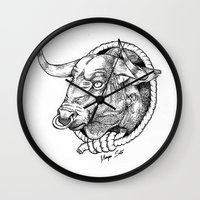 bull Wall Clocks featuring Bull by Morgan Soto