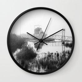 Foggy Harbor North Shore 5 BW Wall Clock