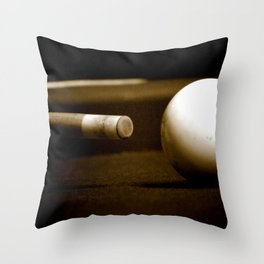 Pool Table-Sepia Throw Pillow