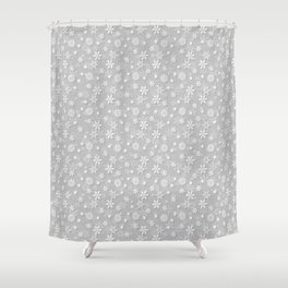 Festive Silver Grey and White Christmas Holiday Snowflakes Shower Curtain